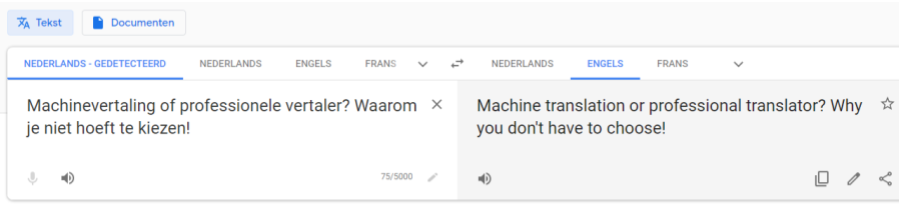 Machinevertaling door Google Translate
